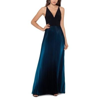 ベッツィアンドアダム Betsy & Adam レディース パーティードレス ワンピース・ドレス Ombre Pleated Gown Black/Blue