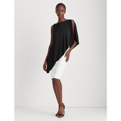 ラルフローレン ワンピース トップス レディース Asymmetrical Cape Jersey Dress Black/Lauren White