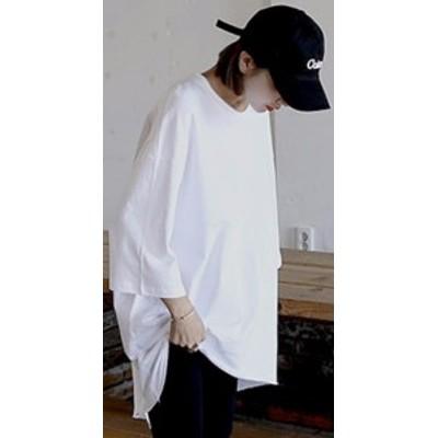 七分袖ビッグTシャツバックスリット ホワイト ブラック ショッピング 普段着
