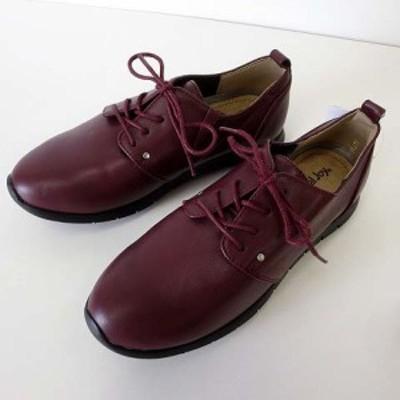 【中古】未使用品 Carnival Joy シューズ コンフォートシューズ くつ 靴 レザー 23.0 エンジ ボルドー レディース