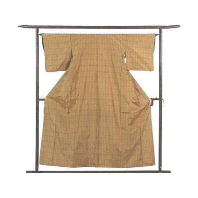 リサイクル着物 紬 正絹金茶地格子柄袷紬着物
