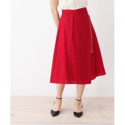 麻混ジップフレアスカート