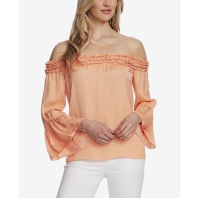 ヴィンスカムート カットソー トップス レディース Women's Bell Sleeve Off Shoulder Blouse Orange Blossom