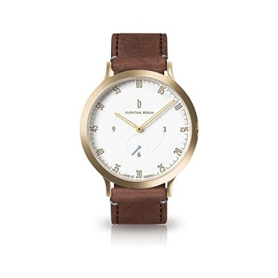 Lilienthal Berlin Watch - Made in Germany - Designed in Berlin. Model L1 with Stainless Steel Case (Case: Gold/Dial: White/Bracelet: Brown, Size: 42,5