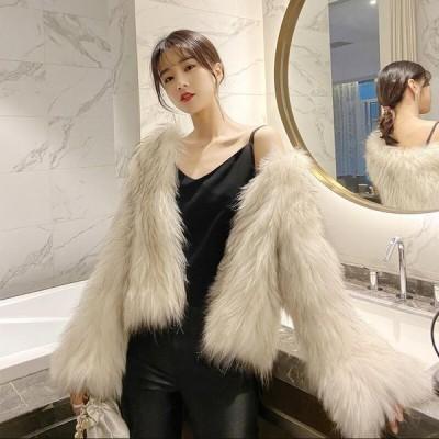 人気フェイクファー女性防寒おしゃれショートコート上着ジャケットアウター暖かい冬物レディースオフィスOL通勤毛皮コート