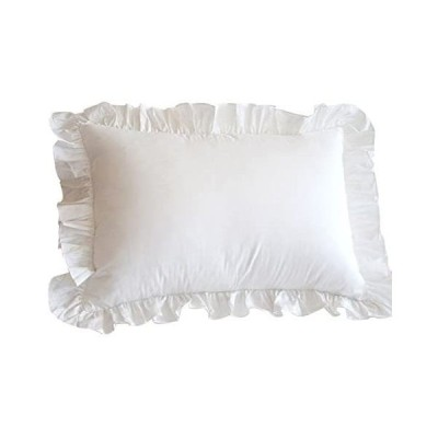 枕カバー 75×50cm(70x50cmも可) 綿100% ピローケース ホワイト 無地 フリル付き 結婚式 (ホワイト,
