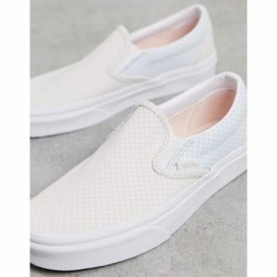ヴァンズ Vans レディース スリッポン・フラット チェッカーフラッグ シューズ・靴 Classic Slip-On pastel checkerboard trainers in bl