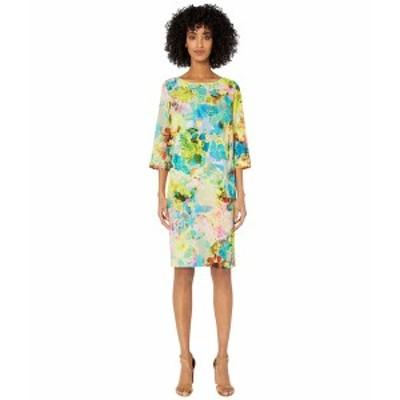 フィッジ レディース ワンピース トップス Cady T-Shirt Knee Length Campo Di Fiori Print Dress Limpido