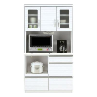 キッチンボード 幅100 完成品 鏡面 艶あり 光沢あり 食器棚 キッチン収納 ダイニングボード 開き扉 引き出し 北欧 ホワイト