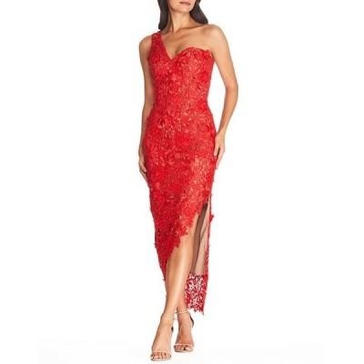 ドレスザポプレーション レディース ワンピース トップス Dress The Population Magnolia Asymmetrical One Shoulder Bodycon Lace High Slit Midi Dress