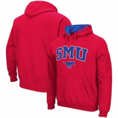 Colosseum コロセウム スポーツ用品  Colosseum SMU Mustangs Red Arch & Logo Tackle Twill Pullover Hoodie