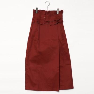 スタイルブロック STYLEBLOCK 綿ツイルベルト付きフロントタックスリットスカート (ブラウン)