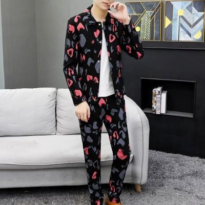 ファッション リバティプリント フォーマルスーツ ブレザー メンズ シルエット 長袖 スーツ 2点セット