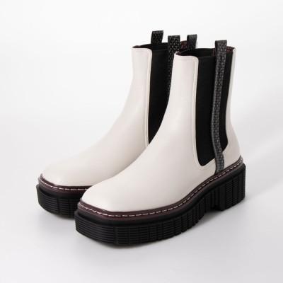 【再入荷】ステッチトリム プラットフォームチェルシーブーツ / Stitch Trim Platform Chelsea Boots (Multi)