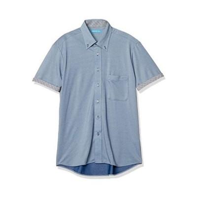 [アトリエサンロクゴ] ニットワイシャツ ニット 半袖 ワイシャツ ストレッチ ノーアイロン メンズ スリム (ボタンダウン-BLU S)