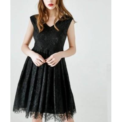 お呼ばれドレス Vネック 20代 30代 40代 袖あり ロング 大きいサイズ ワンピース レース 夏 ノースリーブ U-1007
