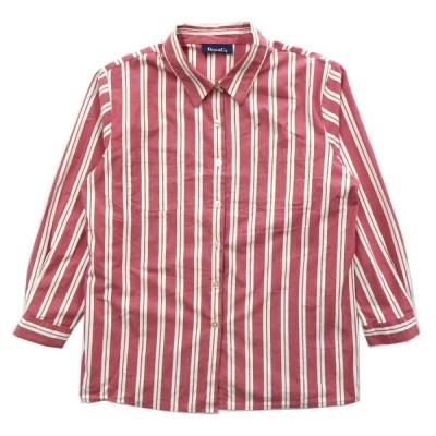 DENIM&CO. ボックスシャツ ストライプ レッド ホワイト 長袖 サイズ表記:--