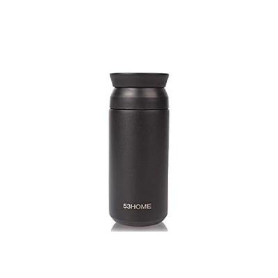 53home 水筒 広口 おしゃれ ステンレスタンブラー ギフトカップ 二重構造 真空断熱 軽量 コンパクト 保温カップ 持ちやすいコップタイプ(ブラ