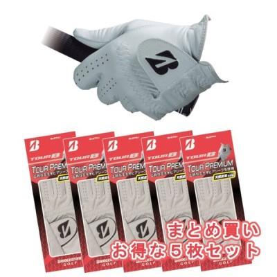 【 ブリヂストンゴルフ 】 ▼お得なまとめ買い5枚セット▼ TOUR B Premium Glove GLG70J メンズ  グローブ