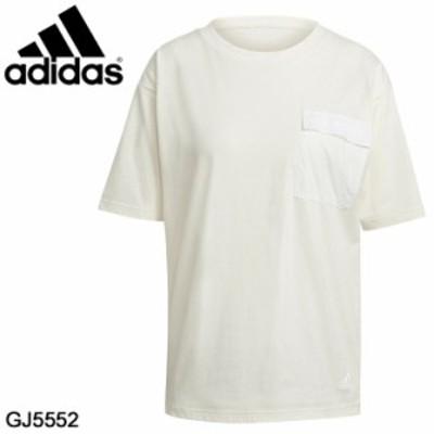 半袖 Tシャツ レディース アディダス adidas W SUMMER ポケットTEE/スポーツウェア 女性 フィットネス 胸ポケット カジュアル クリームホ