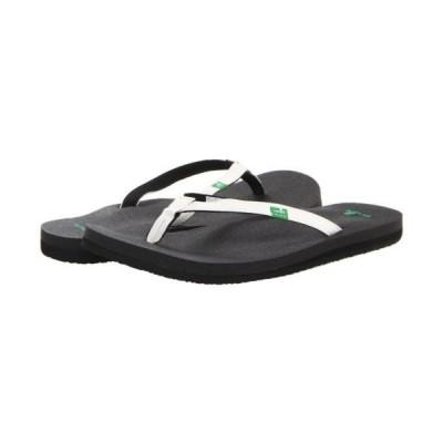 サンダル サヌーク Sanuk Yoga Joy Women's Size Black/White Sandals Flip Flops SWS10275WHT