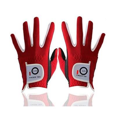 Finger Ten ゴルフ グローブ 子供用 ジュニア キッズ ゴルフ手袋 両手 全天候型 耐久性 男女兼用 四色 1 Pair 副 (赤, Lar