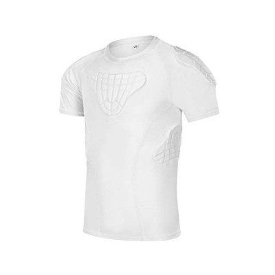 TUOYR Padded Shirt Youth Boys Padded Compression Sports Protective T-Shirt Rib Chest Protector Extreme Exercise (White Padded Shirt, Y-XL(Chest 30.5in