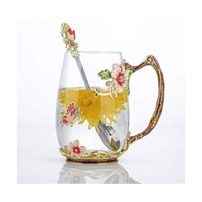 Luka Tech エナメル バタフライフラワー 鉛フリー ガラス コーヒーマグ ティーカップ スチールスプーン付き パーソナライズされたギフト 女性