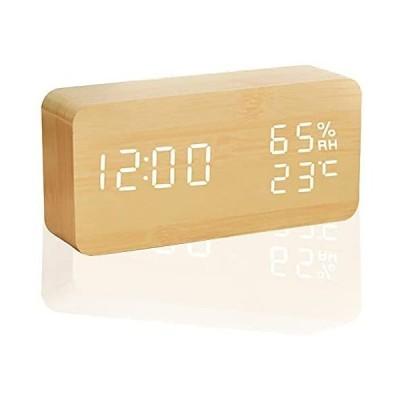 「365日保証」デジタル時計 目覚まし時計 置き時計 日付 温度 湿度 12H/24H USB給電 大音量 明るさ調整可 LED