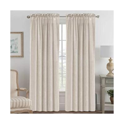 Elegant Natural Linen Blended Energy Efficient Light Filtering Curtains / Rod Pocket Window Treatments Panels / Drapes for Livingroom (Set o