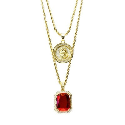 "ネックレス メタルツリー98 14k Gold Plated Medallion Jesus & Red Ruby 22""&27"" Combo Pendant Chain MHC 210 G"