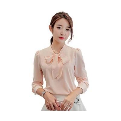 「TongYi ドウゲイ」 ファッション レディース ブラウス 半袖 長袖 tシャツ シャツ トップス シフォン 上着 着痩せ (ピンク L)