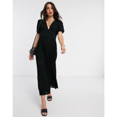 エイソス レディース ワンピース トップス ASOS DESIGN crinkle tea jumpsuit with puff sleeve Black