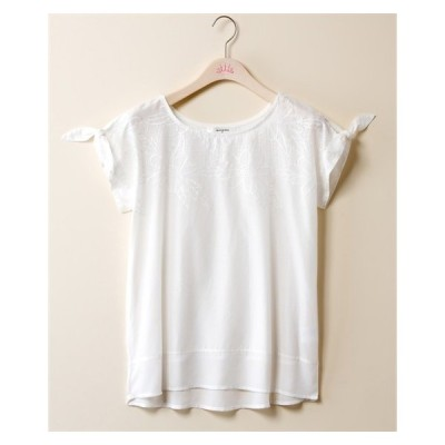 Tシャツ カットソー 大きいサイズ レディース 前身レース裾シフォン切替 プルオーバー marpione  LL/3L ニッセン