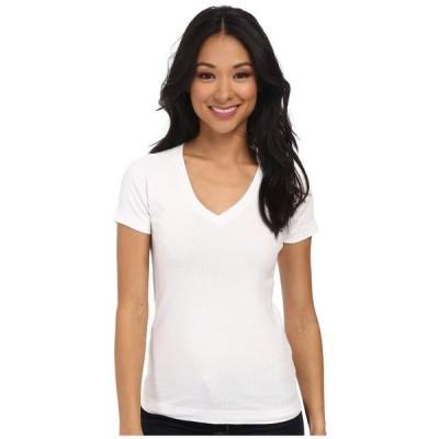 スリードッツ Three Dots レディース Tシャツ トップス S/S Mid V White