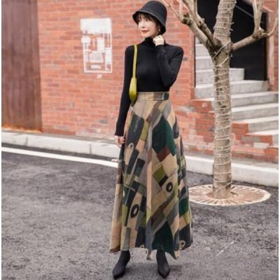 Aライン ロング スカート プリント ハイウエスト 2色カラー
