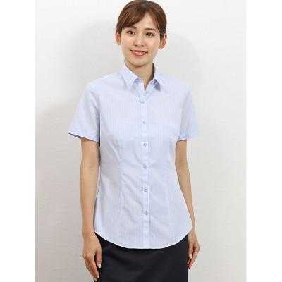 (TAKA-Q/タカキュー)形態安定レギュラーカラー半袖シャツ/レディース サックス