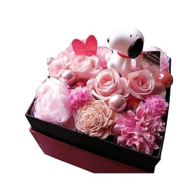 スヌーピー入り 花 花束 フラワーギフト 箱開けてスマイル ボックス入り ピンク系 プリザーブドフラワー マスコットカラーはおまかせ