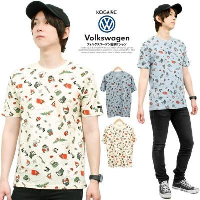 【メール便で送料無料】 VOLKSWAGEN(フォルクスワーゲン) 半袖 Tシャツ メンズ 大きいサイズ 総柄 プリント半袖Tシャツ 綿 おもしろ バス 車
