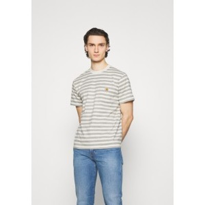 カーハート メンズ Tシャツ トップス SCOTTY POCKET - Print T-shirt - white heather/grey heather white heather/grey heather