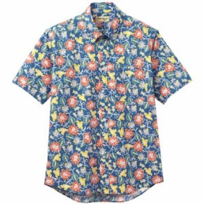 ボンマックス BONMAX アロハシャツ 花柄 FB4540U-8 ネイビー おしゃれ 夏 ボタンダウン