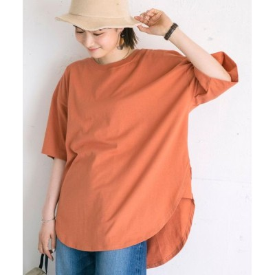 coen レディース 機能付きマチラウンドTシャツ トップス Tシャツ/カットソー オレンジ系その他 L