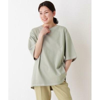 SHOO・LA・RUE/シューラルー USAコットン配色ステッチラウンドヘムTシャツ ライトグリーン(021) 03(L)