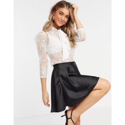 モーガン レーン Morgan レディース ブラウス・シャツ トップス all over sheer lace blouse with tie bow detail in off white オフホワイト