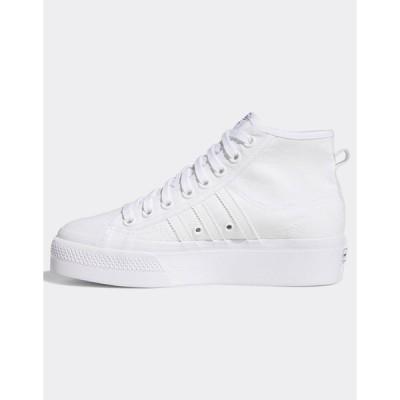アディダスオリジナルス レディース スニーカー シューズ adidas Originals Nizza platform sneakers in white White