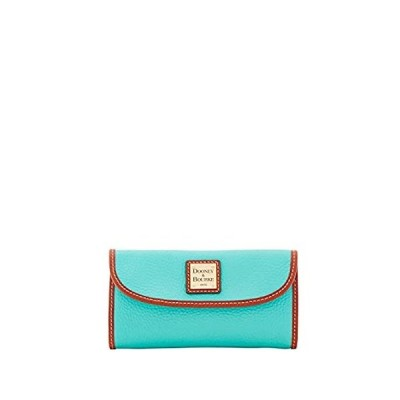 Dooney & Bourke Aqua Pebbled Leather Large Trifold Wallet