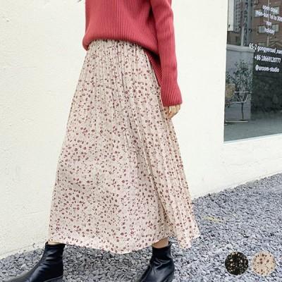プリーツスカート 花柄 レディース 花柄スカート セミロング ロングスカート 黒 ベージュ 韓国ファッション メール便送料無料