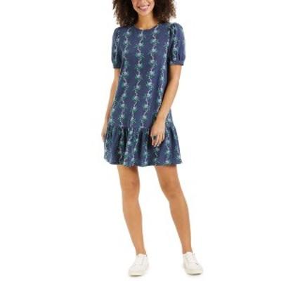 チャータークラブ レディース ワンピース トップス Linear-Print Ruffle-Hem Dress, Created for Macy's Intrepid Blue Combo