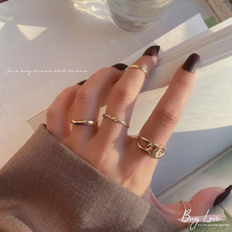 【買到戀愛】現貨 韓系五入一組鍊條波浪簡約造型戒指 飾品 配件 【I1787】