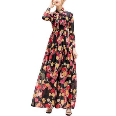 バーリコ ワンピース トップス レディース BURRYCO Silk-Blend Maxi Dress black & flower print